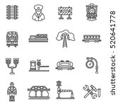 train icons set. railway  thin... | Shutterstock .eps vector #520641778