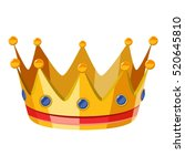 gold crown icon. isometric 3d... | Shutterstock .eps vector #520645810