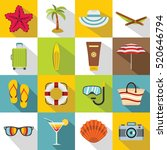 summer rest icons set. flat... | Shutterstock .eps vector #520646794