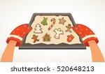 hands holding christmas bakery... | Shutterstock .eps vector #520648213