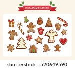 christmas set of cute... | Shutterstock .eps vector #520649590