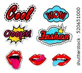 sketch comics set of stickers... | Shutterstock .eps vector #520651000
