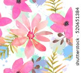 floral seamless pattern with... | Shutterstock . vector #520651384