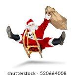 crazy santa claus on his sleigh ... | Shutterstock . vector #520664008