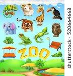 funny animal set. elephant ... | Shutterstock .eps vector #520664668