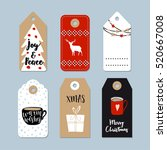 vintage christmas gift tags set.... | Shutterstock .eps vector #520667008