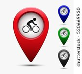 colored map pointer with symbol ... | Shutterstock .eps vector #520669930