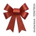 Small photo of Glitter Christmas Bow Isolated on White Background.