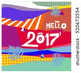 happy new year 2017 background. ... | Shutterstock .eps vector #520673554