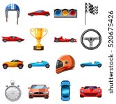 race icons set. cartoon... | Shutterstock .eps vector #520675426