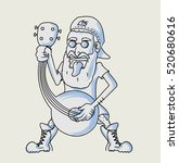 funny man singing with mandolin ... | Shutterstock .eps vector #520680616