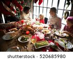 family together christmas... | Shutterstock . vector #520685980
