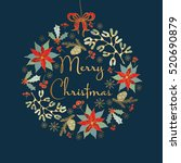 golden christmas card with... | Shutterstock .eps vector #520690879