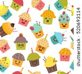 seamless pattern with cupcakes... | Shutterstock .eps vector #520693114