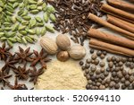 flat lay herbs and spices for...   Shutterstock . vector #520694110