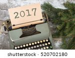 christmas concept   typewriter... | Shutterstock . vector #520702180