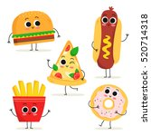 Stock vector cute set of five cartoon fast food characters isolated on white burger hot dog pizza slice 520714318