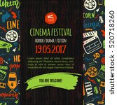cinema festival poster with... | Shutterstock .eps vector #520718260