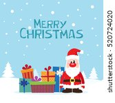 christmas card with santa claus ... | Shutterstock .eps vector #520724020