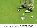 golfer training putting golf... | Shutterstock . vector #520729348