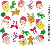 christmas doodle art with santa ... | Shutterstock . vector #520731814