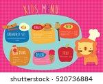 kids meun food  drink  desert ... | Shutterstock .eps vector #520736884