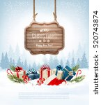 christmas background with a... | Shutterstock .eps vector #520743874