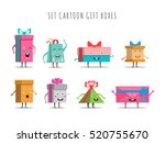 funny gift boxes characters... | Shutterstock .eps vector #520755670