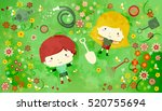 illustration of a redheaded boy ... | Shutterstock .eps vector #520755694