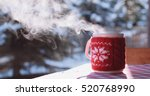 steaming cup of hot coffee or... | Shutterstock . vector #520768990