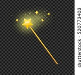 golden magic wand with star on... | Shutterstock .eps vector #520773403