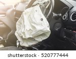Small photo of Airbag exploded at a car accident and illuminated