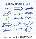 set of arrow doodle on paper... | Shutterstock .eps vector #520778413