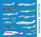 different airplane aircraft set.... | Shutterstock .eps vector #520779730