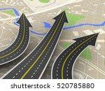 3d illustration of road choice... | Shutterstock . vector #520785880