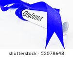 Diploma with blue ribbon on white background - stock photo