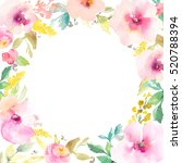 round watercolor flower frame.... | Shutterstock . vector #520788394