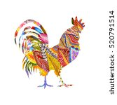 colorful poster of a rooster... | Shutterstock . vector #520791514