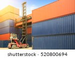 crane lifting up container in... | Shutterstock . vector #520800694