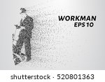 working man from the particles. ... | Shutterstock .eps vector #520801363
