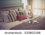 colorful pillows on white bed... | Shutterstock . vector #520802188