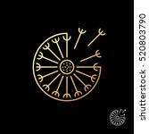 fluffy gold dandelion logo... | Shutterstock .eps vector #520803790