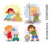 set icons small girls playing... | Shutterstock .eps vector #520805680