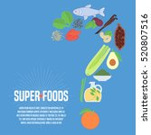 selection of superfoods... | Shutterstock .eps vector #520807516
