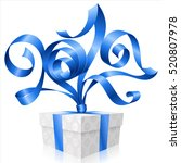 vector blue ribbon and gift box ... | Shutterstock .eps vector #520807978
