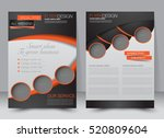 Brochure template. Business flyer. Annual report cover. Editable A4 poster for design, education, presentation, website, magazine page. Black and orange color. | Shutterstock vector #520809604