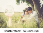 happy couple on vacation.happy... | Shutterstock . vector #520821358