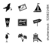attractions of miami icons set. ... | Shutterstock .eps vector #520821484