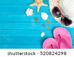 summer accessories on blue... | Shutterstock . vector #520824298