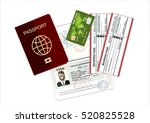 passport  credit card and...   Shutterstock .eps vector #520825528